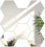 Nowoczesna Clock hexagons Silver Mirror Hexagonal